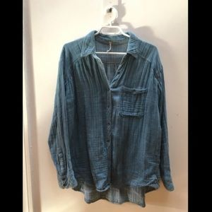 FREE PEOPLE Blue Soft Woven Blouse